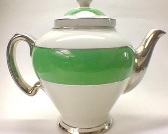 Vintage McCormick & Co. Teapot Banquet Teas, Art Deco, Ceramic, 1950's, Hall China