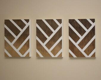 Modern Wall Art   Triptych   Ombre   Wood Wall Art   Geometric