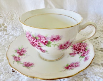 Colclough Pink Floral Teacup and Saucer, Pattern 6790, Bone China