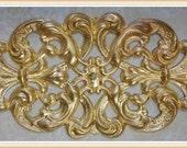 brass raw brass filigree vintage embellishment ornate ornament 1 piece E0086