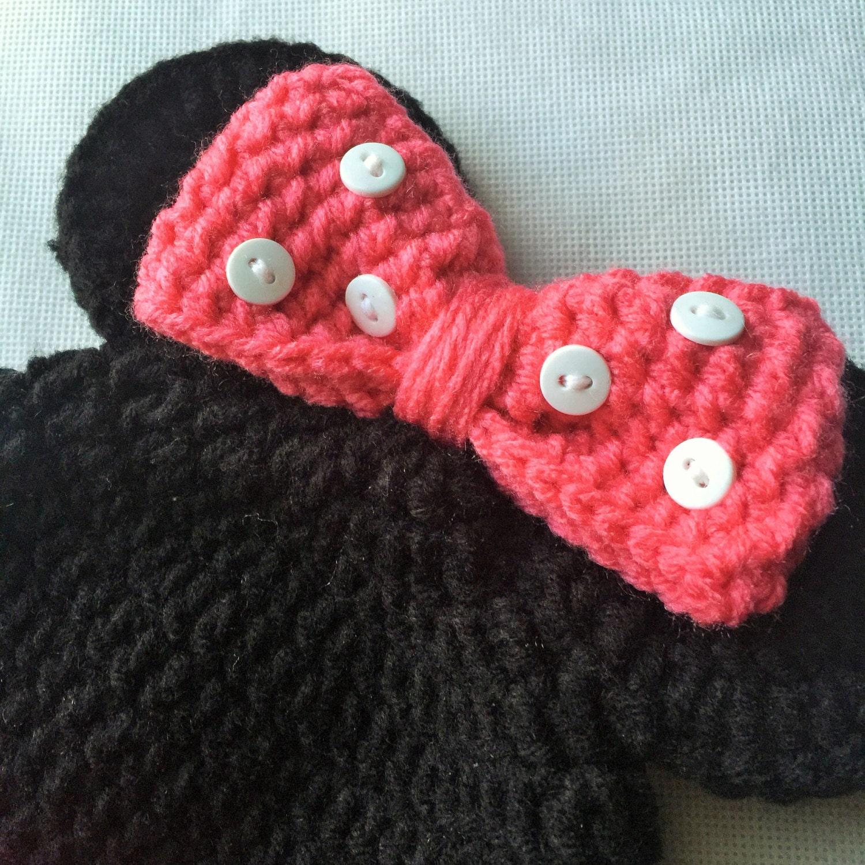 Minnie Mouse Hat - Minnie Mouse Crochet Hat - Disney Hat - Minnie ...