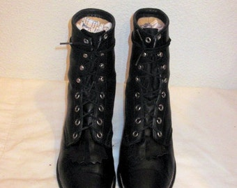Justins-Vintage-Women SZ 7B-black leather lace up granny combat boots