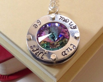 Be still and know, Swarovski Crystal Washer Pendant  Necklace