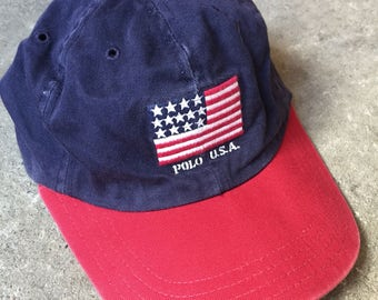Vintage 90s Polo ralph lauren USA flag logo hat made in USA