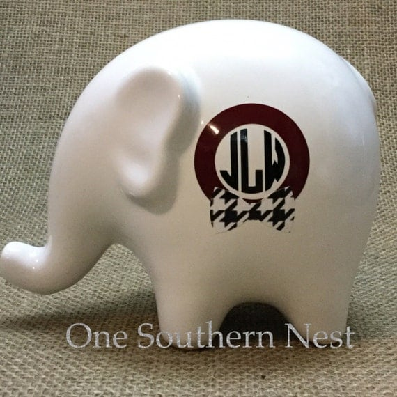 Personalized Elephant Bank.  The perfect gift for any Alabama fan!  White bank with crimson and black houndstooth vinyl accents.