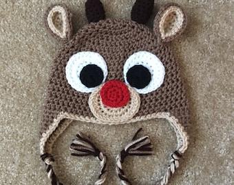 Newborn Rudolph Hat, Reindeer Hat, Newborb Christmas Hat, Rudolph Crochet Hat