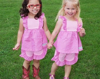 MomMe's Tickle Me Pink Ruffle Tunic size 6Y