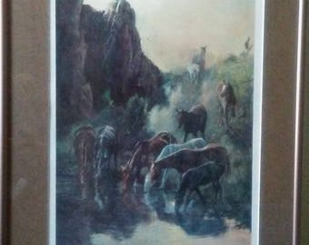Vintage Signed BILL FREEMAN 'Wild horses at waterhole'