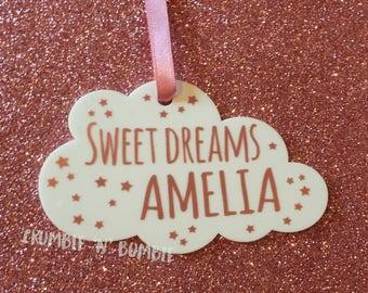 Personalised 'Sweet Dreams'  Rose Gold Cloud.  New baby acrylic / perspex Cloud.   New Baby Gift,  Baby Girl.  Cloud Nursery.