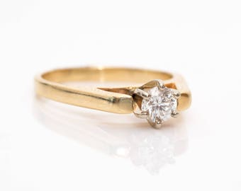 1960s Solitaire 0.25ct Diamond & 14k Gold Vintage Engagement Ring, VJ #957