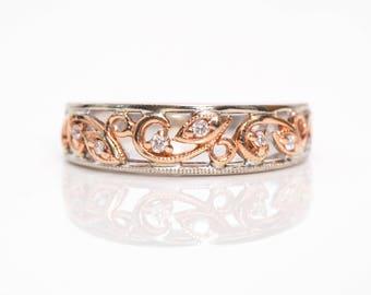 1970s Beautiful 14k Rose Gold & White Gold Diamond Floral Vintage Ring, VJ #961