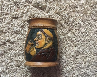 Unusual Vintage Carved Wood Beaker Beautifully Detailed Monk Design!