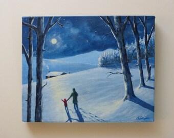 Winter scene painting - Visitors.
