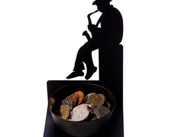 Spare Some Change - Saxophonist Metal Coin Holder by Artori Design - Unique Gifts