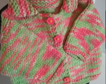 Pink and Green Baby Sweater