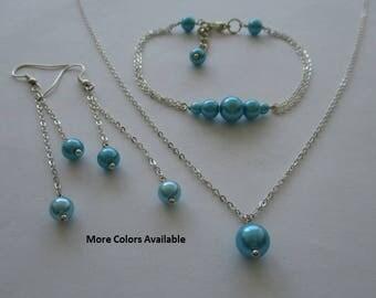 Aquamarine Blue Pearl Jewelry Set-Jewelry Set-Bridesmaid Jewelry Set-Bridal Party Jewelry-Wedding Party Jewelry Set-Prom Jewelry Set, S948
