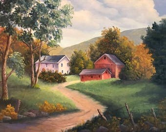 Road To Farm, Red Barn and House, Farm in Oils, White Farm House with Red Barn Oil Painting, Wall Art, Home Decor