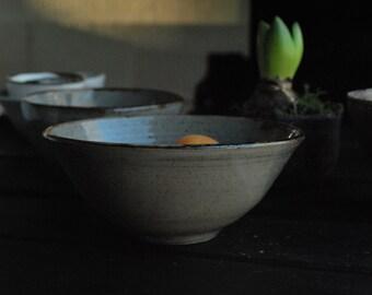 Wabi Sabi Stoneware Ceramic Bowl with a Reduction Grey Glaze Finish