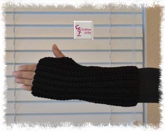 Black Fingerless Arm Warmers - XL
