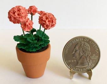 Dollhouse Miniature Coral Geranium Artist Made