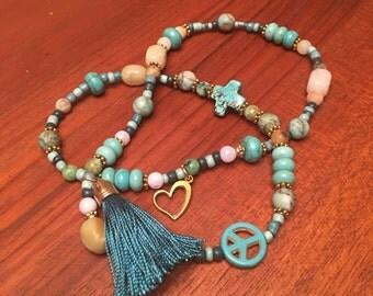 Faith, Love, and Peace: Boho beaded triple wrap bracelet
