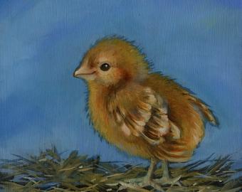 Spring Chick, Original Oil Painting, Bird Art, Farm Art, Farm House Art