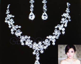 Wedding Bridal Rhinestone Crystal Drop Necklace Earring Plated Jewelry Set