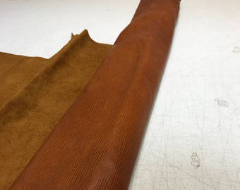 LIMITED OFFERING: Cognac Bark Cow Leather- ONLY 1 left!- Perfect for Handbags, Shoes, Garments, Accessories, Leather Crafts.