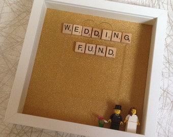 Engagement gift, wedding fund, lego, scrabble frame, money box
