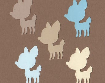 """25 - 2"""" Fawn Die Cuts Paper Craft Embellishment Seaside colors Set 8001"""