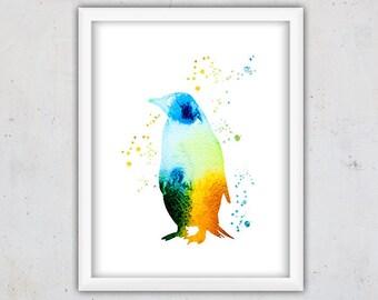 Nursery Instant Download Print, Kids Print, Watercolor Penguin Print, Nursery Room Gift, Digital Print Nursery, Animal Art Print, Wall Art