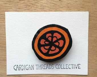 Cardboard Brooch - orange segments