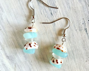 Hawaiian Puka shell silver earrings with blue turquoise frosted glass - handmade in Hawaii