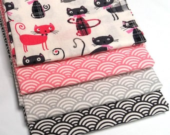 Lot of 4 coupons 50 cm x 50 cm fabric Lord pink cat, sushi seigaiha pink, light grey, grey anthracite