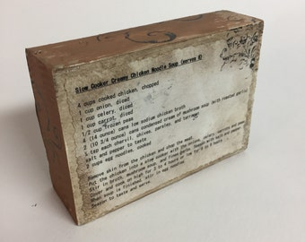 Recipe Block, Slow Cooker Creamy Chicken Noodle Soup, repurposed wood