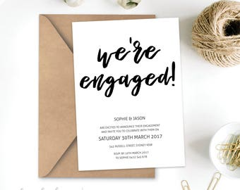 We're Engaged Invitation Printable 5x7 - Elegant black and white classy Sophisticated - Digital File