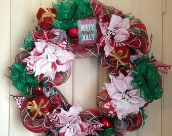 ON SALE, Deco Mesh Christmas Wreath, Christmas Wreath, Christmas Front Door Hanger, Christmas Wreath for Front Door,Outside Christmas Wreath