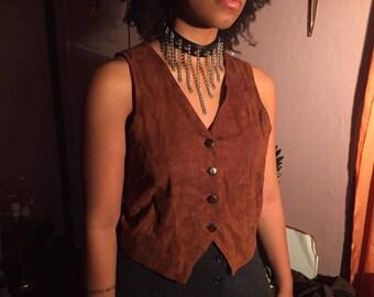 Vintage Camel Brown Genuine Leather Vest/ Soft