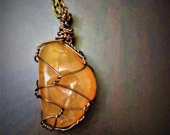 Wire Wrapped Carnelian Gemstone Necklace