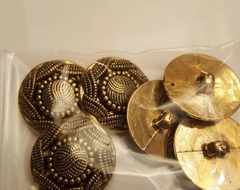 SALE Set of 6 gold buttons 1""