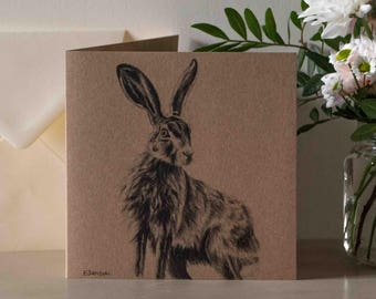 Sitting Hare Greetings Card
