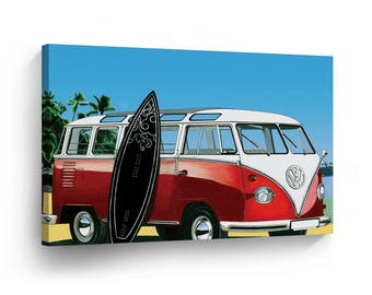 Classic Volkswagen Van Red Digital Painting Canvas Print Home Decor /Old Vintage Bus /Camper/Wall Art Gallery Wrapped /Ready to Hang
