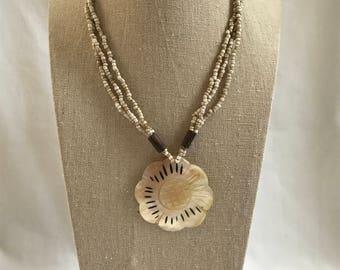 Vintage Pendant Bead Necklace, Flower Pendant, Triple Strand, Retro, Bobo, Estate  Jewelry