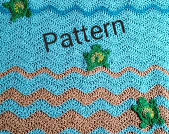 Sea Turtle Baby Blanket Crochet Pattern, Personalized baby, stroller blanket, baby shower gift