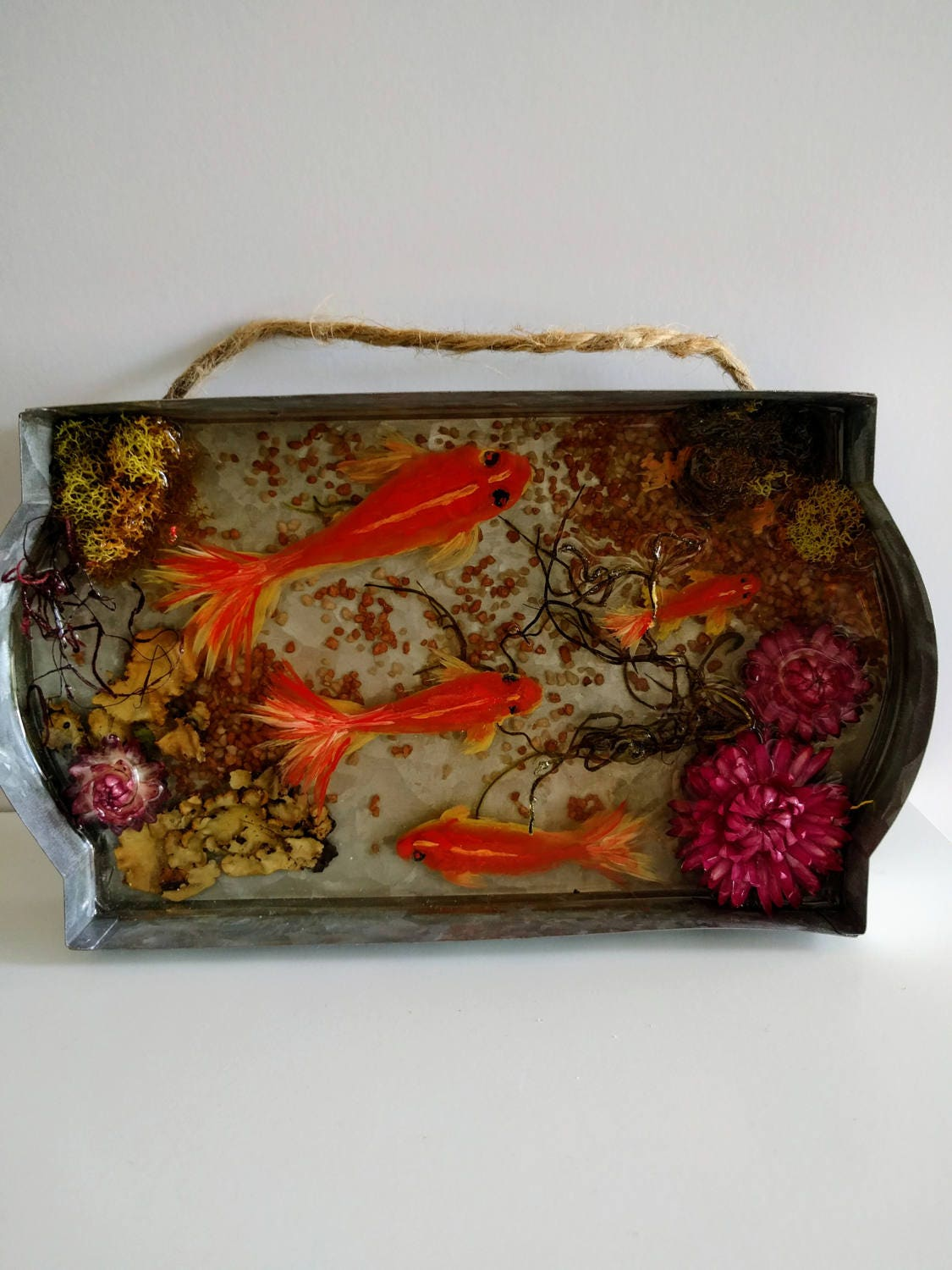 Resin paperweight gold koi fish pond 3d acrylic painting for Koi home decor