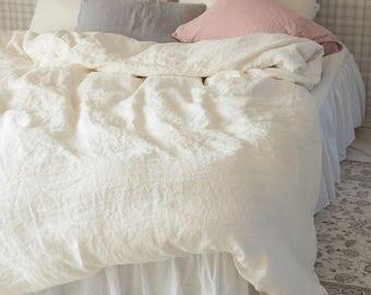 Natural Linen Bedding Shabby Chic Bedding Linen Duvet Cover Eggshell Flax Linen Bedding Linen Sham Cover Duvet Cover Organic Elegant Bedding