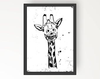 Giraffe Black & White Ink illustration - Digital Print Poster A4, A3