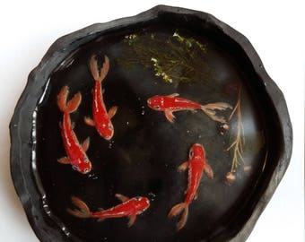 3D red koi fish resin art, 5 red koi Fish, Hand painted RESIN PAINTING in black pottery bowl, Wedding gift, Birthday gift, love gifts