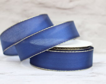 Wired Gold Edge Organza Ribbon, 1 Meter Organza Ribbon, 25mm Dark Blue Ribbon, Christmas Ribbon, Gift Wrap, Etsy Shop Supplies.