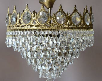 CHIC VINTAGE CRYSTAL Chandelier Antique French Style Waterfall Home and Living Crystal Chandeliers Pendants Victorian Victorian Chandelier